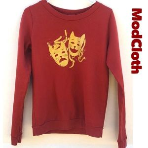 Modcloth Cats Comedy Tragedy Drama Mask Sweatshirt
